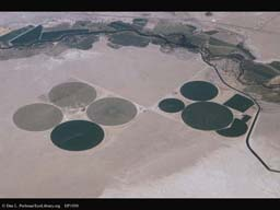 Irrigation in dry lands (aerial), Western USA