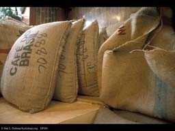 Coffee from Brazil in large bags