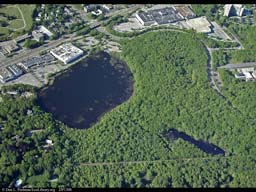 Pond suffering from runoff (aerial), Massachusetts, USA